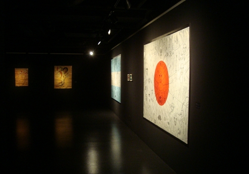 View of the exhibition and of Diego Perrotta 's FLAG OF JAPAN