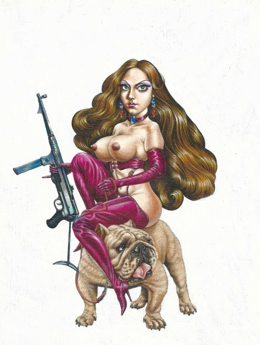 Aoi Fujimoto 02 - painting - 1970's - Armed sexy lady