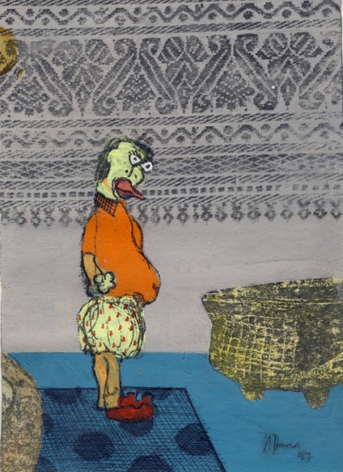 Azizan Paiman - drawing and transfer print on paper - 1997 - Issue now and then - Dhobi