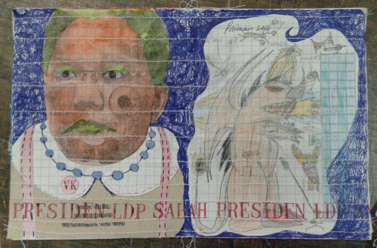 Azizan Paiman - painting - 2014 - mm paper - HA - Presiden LDP
