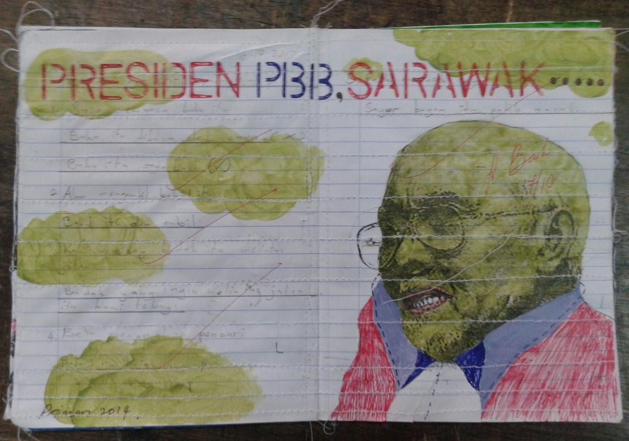 Azizan Paiman - painting - 2014 - mm paper - HA - Presiden PBB