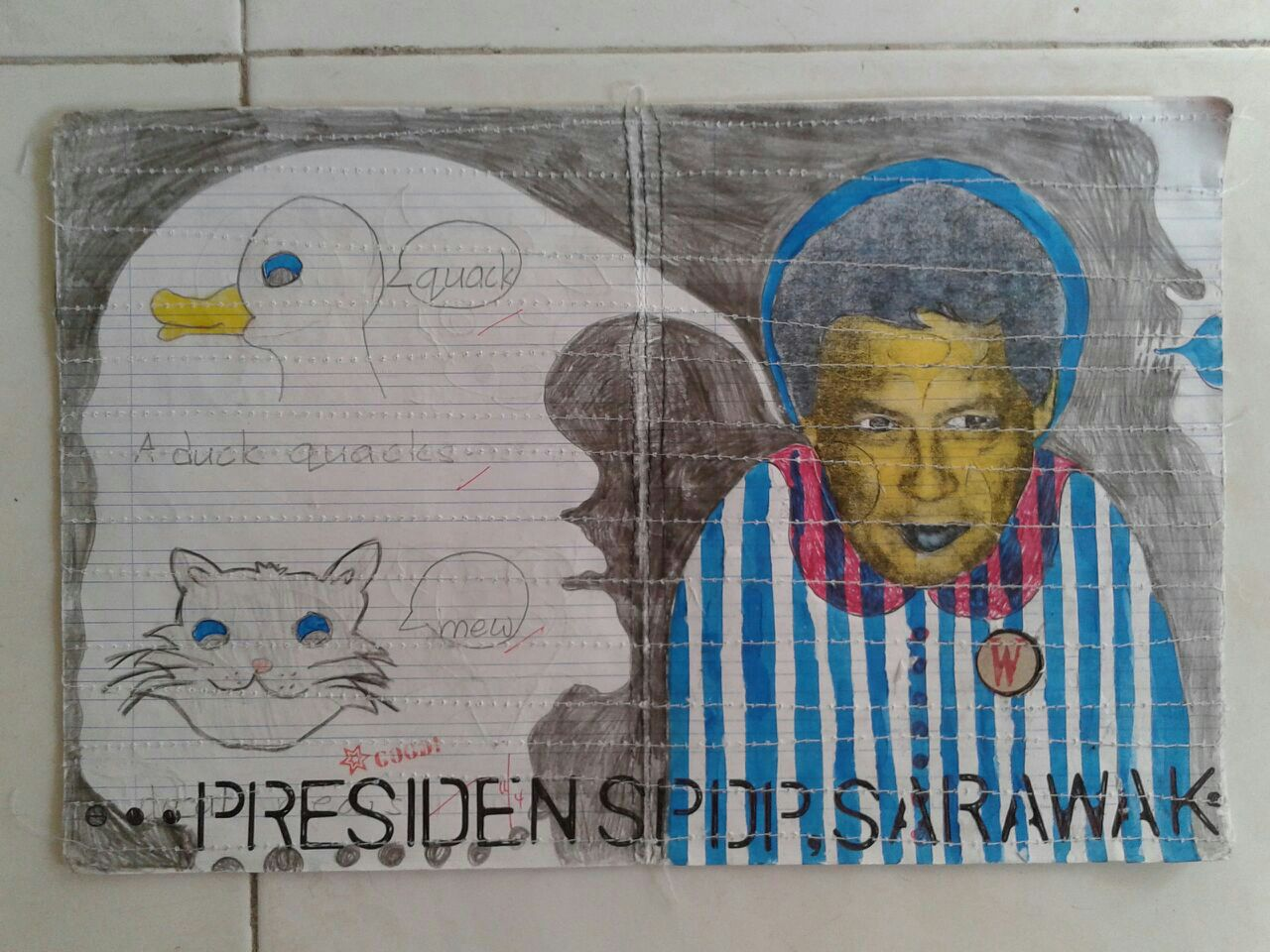 Azizan Paiman - painting - 2014 - mm paper - HA - Presiden SPDP - in process