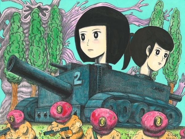 Minoru Sugiyama - Painting on board - 2012 - Tank girl