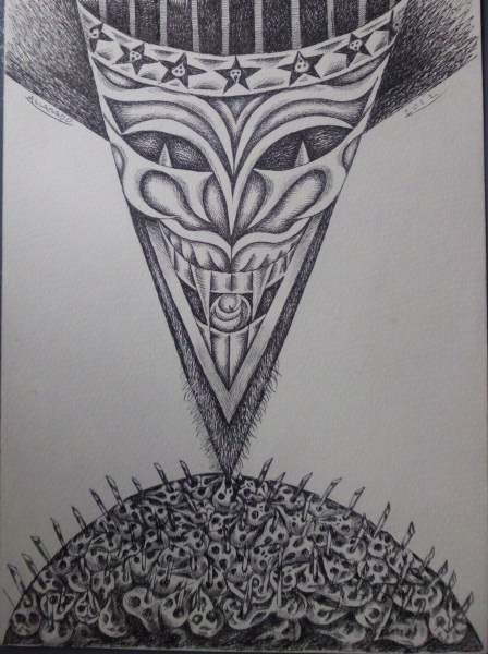 Nunelucio Alvarado - India ink on paper - 2012 - Behind the mask
