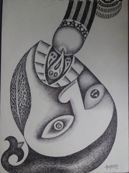 Nunelucio Alvarado - India ink on paper - 2012 - Nine om om