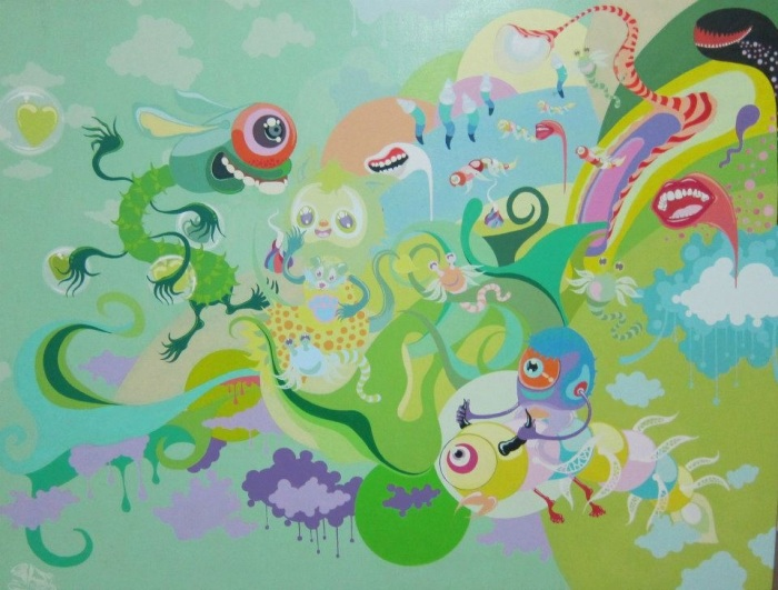 Whoop - Acrylic paint on canvas - 2013 - The secret green garden